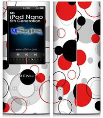 iPod Nano 5G Skin - Lots of Dots Red on White