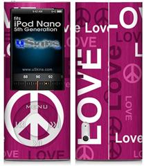 iPod Nano 5G Skin - Love and Peace Hot Pink