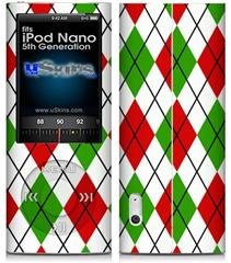 iPod Nano 5G Skin - Argyle Red and Green