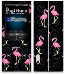 iPod Nano 5G Skin - Flamingos on Black