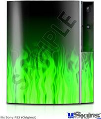 Sony PS3 Skin - Fire Flames Green
