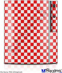 Sony PS3 Skin - Checkered Canvas Red and White