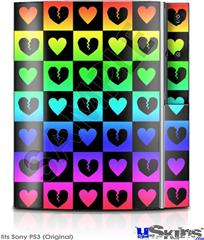 Sony PS3 Skin - Love Heart Checkers Rainbow
