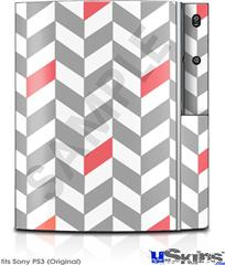 Sony PS3 Skin - Chevrons Gray And Coral