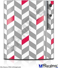 Sony PS3 Skin - Chevrons Gray And Raspberry