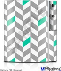 Sony PS3 Skin - Chevrons Gray And Turquoise