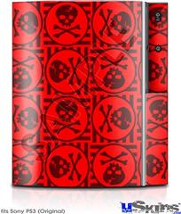 Sony PS3 Skin - Skull Patch Pattern Red