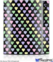 Sony PS3 Skin - Pastel Hearts on Black