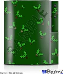 Sony PS3 Skin - Holly Leaves on Green