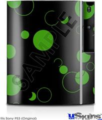 Sony PS3 Skin - Lots of Dots Green on Black