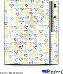 Sony PS3 Skin - Kearas Hearts White