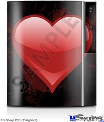 Sony PS3 Skin - Glass Heart Grunge Red