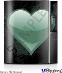 Sony PS3 Skin - Glass Heart Grunge Seafoam Green