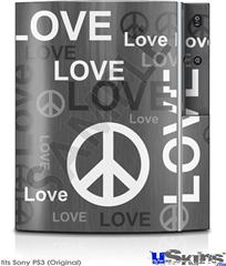 Sony PS3 Skin - Love and Peace Gray
