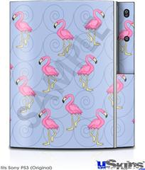 Sony PS3 Skin - Flamingos on Blue