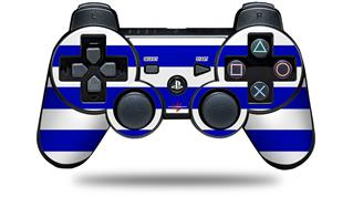 Sony PS3 Controller Decal Style Skin - Psycho Stripes Blue and White (CONTROLLER NOT INCLUDED)
