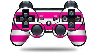 Sony PS3 Controller Decal Style Skin - Psycho Stripes Hot Pink and White (CONTROLLER NOT INCLUDED)