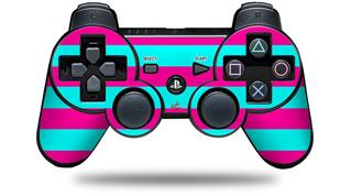 Sony PS3 Controller Decal Style Skin - Psycho Stripes Neon Teal and Hot Pink (CONTROLLER NOT INCLUDED)