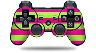 Sony PS3 Controller Decal Style Skin - Psycho Stripes Neon Green and Hot Pink (CONTROLLER NOT INCLUDED)