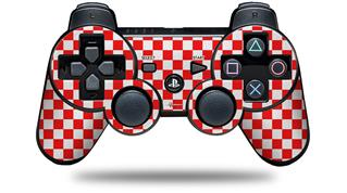 Sony PS3 Controller Decal Style Skin - Checkered Canvas Red and White (CONTROLLER NOT INCLUDED)