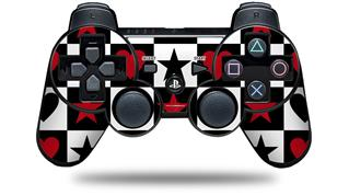 Sony PS3 Controller Decal Style Skin - Hearts and Stars Red (CONTROLLER NOT INCLUDED)