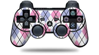 Sony PS3 Controller Decal Style Skin - Argyle Pink and Blue (CONTROLLER NOT INCLUDED)