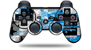 Sony PS3 Controller Decal Style Skin - Checker Skull Splatter Blue (CONTROLLER NOT INCLUDED)