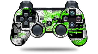 Sony PS3 Controller Decal Style Skin - Checker Skull Splatter Green (CONTROLLER NOT INCLUDED)