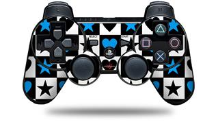 Sony PS3 Controller Decal Style Skin - Hearts And Stars Blue (CONTROLLER NOT INCLUDED)