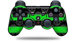 Sony PS3 Controller Decal Style Skin - Skull Stripes Green (CONTROLLER NOT INCLUDED)