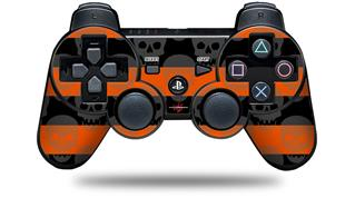 Sony PS3 Controller Decal Style Skin - Skull Stripes Orange (CONTROLLER NOT INCLUDED)