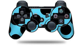Sony PS3 Controller Decal Style Skin - Kearas Polka Dots Black And Blue (CONTROLLER NOT INCLUDED)