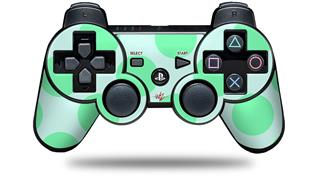 Sony PS3 Controller Decal Style Skin - Kearas Polka Dots Green On Green (CONTROLLER NOT INCLUDED)