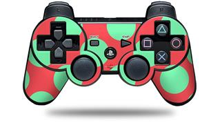 Sony PS3 Controller Decal Style Skin - Kearas Polka Dots Green On Salmon (CONTROLLER NOT INCLUDED)