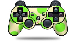 Sony PS3 Controller Decal Style Skin - Kearas Polka Dots Lime On Cream (CONTROLLER NOT INCLUDED)