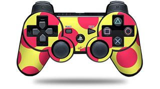 Sony PS3 Controller Decal Style Skin - Kearas Polka Dots Pink And Yellow (CONTROLLER NOT INCLUDED)
