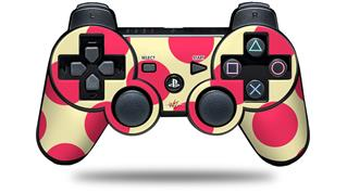 Sony PS3 Controller Decal Style Skin - Kearas Polka Dots Pink On Cream (CONTROLLER NOT INCLUDED)