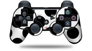 Sony PS3 Controller Decal Style Skin - Kearas Polka Dots White And Black (CONTROLLER NOT INCLUDED)