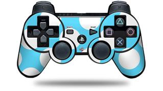 Sony PS3 Controller Decal Style Skin - Kearas Polka Dots White And Blue (CONTROLLER NOT INCLUDED)