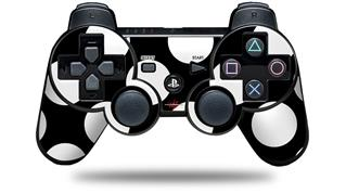Sony PS3 Controller Decal Style Skin - Kearas Polka Dots White On Black (CONTROLLER NOT INCLUDED)