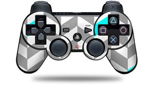 Sony PS3 Controller Decal Style Skin - Chevrons Gray And Aqua (CONTROLLER NOT INCLUDED)