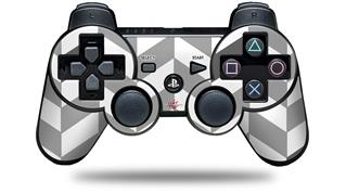 Sony PS3 Controller Decal Style Skin - Chevrons Gray And Charcoal (CONTROLLER NOT INCLUDED)