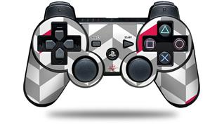 Sony PS3 Controller Decal Style Skin - Chevrons Gray And Raspberry (CONTROLLER NOT INCLUDED)