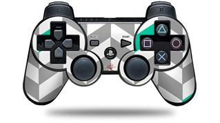 Sony PS3 Controller Decal Style Skin - Chevrons Gray And Turquoise (CONTROLLER NOT INCLUDED)