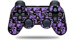 Sony PS3 Controller Decal Style Skin - Skull Checker Purple (CONTROLLER NOT INCLUDED)