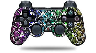 Sony PS3 Controller Decal Style Skin - Splatter Girly Skull Rainbow (CONTROLLER NOT INCLUDED)