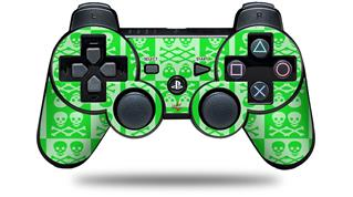 Sony PS3 Controller Decal Style Skin - Skull And Crossbones Pattern Green (CONTROLLER NOT INCLUDED)