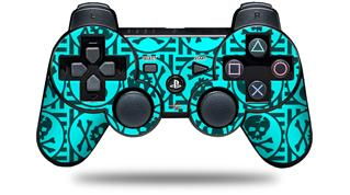 Sony PS3 Controller Decal Style Skin - Skull Patch Pattern Blue (CONTROLLER NOT INCLUDED)