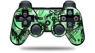 Sony PS3 Controller Decal Style Skin - Scene Kid Sketches Green (CONTROLLER NOT INCLUDED)