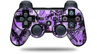 Sony PS3 Controller Decal Style Skin - Scene Kid Sketches Purple (CONTROLLER NOT INCLUDED)